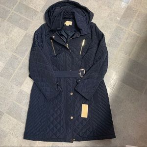 NWT Michael Kors Navy Blue Hooded Quilted Jacket